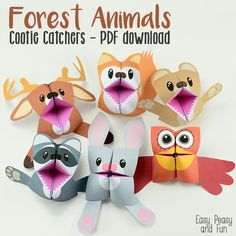 Forest animals cootie catchers - origami for kids - easy peasy and fun animal crafts kids Kids Crafts, Summer Crafts, Crafts For Teens, Projects For Kids, Diy For Kids, Easy Crafts, Arts And Crafts, Paper Crafts, Art Projects