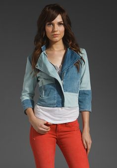 Love anything that mixes denim and moto-gear.