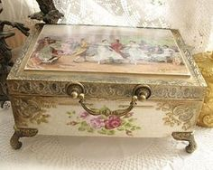 Vintage jewelry box, wood and decoupage decorated with double brushstroke painted dance scene.