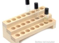 Wooden Display Rack for Fragrance or Essential Oils - 3 Row Bottle Display Rack - Holds 24 Bottles Essential Oil Holder, Essential Oil Storage, Essential Oils, Makeup Storage Organization, Diy Storage, Storage Organizers, Livingston, Bottle Display, Soap Display