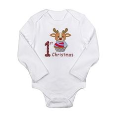 Baby 1st Christmas Body Suit #baby #first christmas #infant #baby first christmas #reindeer #cupcake #1st christmas #babies 1st christmas #1st christmas #holiday #graphic design gifts and clothings for babies