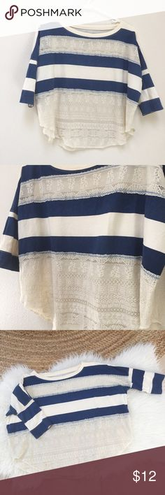 We the Free Lace and Stripes Top Dark blue and cream colors.  Sleeves are fitted and the rest of the shirt is flowy and loose.  Lace panels are see through.  Size XS.  Could also fit a sz small.  Very liggt wash color fade. Free People Tops Tees - Short Sleeve