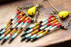 Seed+Bead+Earrings+//+Seed+Bead+Fringe+by+bytherockandweed+on+Etsy,+$19.00
