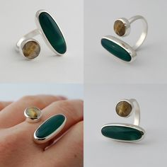 Another open ring!  I just love open rings, i could make them all day!  I love that the stones looks like they are floating on the fingers.  For the first time i used the jett sett to do the setting, what a treat!