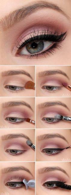 Make-up - Everyday makeup look . - Make-up - Glitter Makeup, Prom Makeup, Makeup Eyeshadow, Hair Makeup, Makeup Brushes, Pink Glitter, Gold Eyeshadow, Colorful Eyeshadow, Cosmetic Brushes