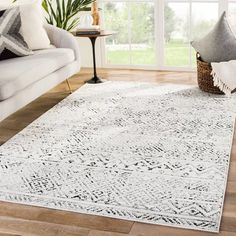 Shop the Tamsin Rug - Color: White, Black; Size: x by Jaipur. Made from Polypropylene, Polyester in Turkey. This Power Loomed White, Black rug has a pile_height, perfect for a soft yet durable addition to your home. Grey And White Rug, Black Rug, White Area Rug, White Rugs, Gray, Blue Area, Dark Grey, Black White, Living Room Area Rugs