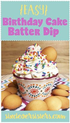 This easy Birthday Cake Batter Dip is super simple, quick and YUMMY! #recipe #birthday #delish #cakebatter #funfetti #partyfood #happybirthday #sixcleversisters #ChocolateRaspberryCake Birthday Cake Dip, Homemade Birthday Cakes, Happy Birthday, 5th Birthday, Cake Batter Dip, Chocolate Raspberry Cake, Sprinkle Party, Roasted Strawberries, Hazelnut Cake