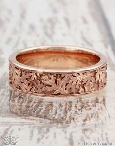 Oak Leaf Wedding Band in 14k Rose Gold. Love the growth and changes of nature, check out Krikawa's leaf wedding bands like this Oak Leaf Wedding Band. You pick your metal and we will create your dream ring just for you!