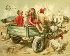 Kinders op Donkie kar Children on the donkey cart. Art Painting, Farm Art, Egyptian Art, Illustration Art, Baby Painting, Cool Paintings, Art Pictures, Beautiful Art, Country Art