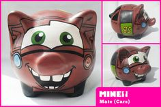 https://flic.kr/p/dHDKan | mate / cars 2 | Chanchitos Marranitos Alcancías decoradas, artesanales y personalizadas de Mine! Diseños. Decorated piggy banks. Hand painted piggy banks.