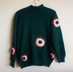 Front of a sweater, more eyes on the back #ýrúrarí #knitting #eyes