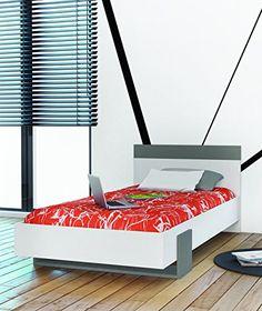 """Demeyere 258759 Bett 90 x 200 cm """"Andy"""", weiß / grafit grau http://www.moebelkaufen.info/produkt/demeyere-258759-bett-90-x-200-cm-andy-weiss-grafit-grau/"""