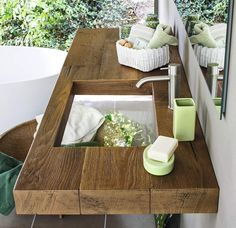 badezimmer holz-waschtisch glas waschbecken illusionen tiefe leere