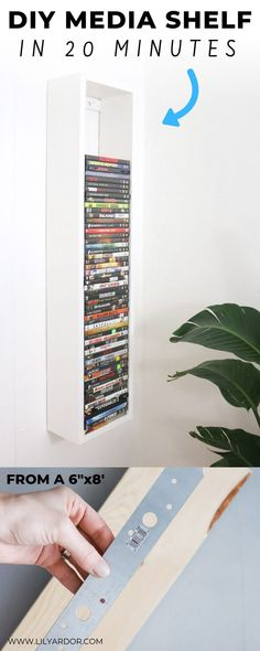 Make this super easy DIY media shelf from old wood or a . Done in 20 minutes time! Make this super easy DIY media shelf from old wood or a . Done in 20 minutes time! Diy Organizer, Diy Organization, Organizing, Diy Home Decor For Apartments, Media Shelf, Diy Simple, Cleaning Walls, Diy Home Crafts, Decor Crafts