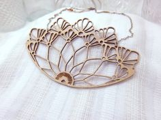 Petite Peacock Lace Chest Rocker, Laser Cut Bamboo with Gold detail, brass chain and clasp