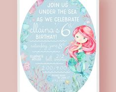 Mermaid Birthday Party Printable Invitation - mermaids available with blonde hair, black hair, brown hair or red hair Red Hair, Brown Hair, Black Hair, Blonde Hair, Personalized Invitations, Printable Invitations, Party Printables, Printable Designs, Mermaid Birthday