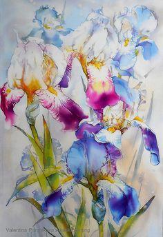 Ирисы, горячий батик 80x50   by Valentina Parshikova