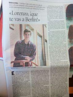 Releyendo la noticia en el periódico de un alumno de mi colegio ¡Qué orgullosos estamos de él!