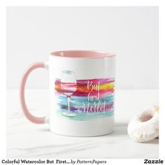 Shop Colorful Watercolor But First Merlot Funny Quote Mug created by PatternPapers. Modern Mugs, Top Gifts, Motivation Inspiration, Holiday Fun, Retro Vintage, Create Your Own, Funny Quotes, Colorful, Watercolor