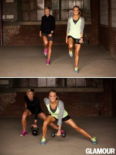 Stand on your left leg, holding a 5- to 15-pound kettlebell or dumbbell in your left hand, and lift your right knee straight up. Lunge directly to your right, keeping your right knee directly above your foot and extending straight down in front of you. For perfect form, extend your booty and keep your left leg straight the entire time. Firmly push off your right foot to return to starting position, then repeat 15 times. Complete 15 reps on each side.