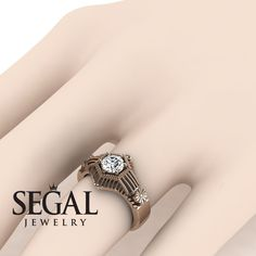Yellow Gold Engagement Ring by Segal Jewelry Engagement Rings On Finger, Unique Diamond Engagement Rings, Beautiful Engagement Rings, Designer Engagement Rings, Vintage Engagement Rings, Diamond Rings, Ring Finger, Gold Rings, Engagement Inspiration