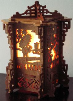 Japanese lantern, scroll saw fretwork pattern