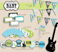 GUITAR Boy Baby Shower Printable Package in by PrintasticDesign, $25.00