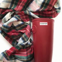 Red Hunter boots and tartan plaid scarf