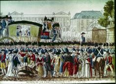 Return of the Royal Family to Paris following the failed attempt to flee. The expressions on the faces of the royal family and the number of National Guardsmen escorting the carriage suggests the serious of this affair as well as the concern that popular protest or violence might greet the king on his return.