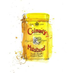 Colman's Mustard packaging illustration by Georgina Luck Watercolor Food, Watercolor And Ink, Watercolor Paintings, Watercolors, Ink Paintings, Watercolor Ideas, Georgina Luck, Juan Sanchez Cotan, Food Illustrations