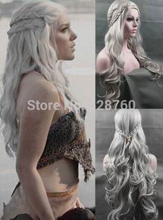 Cosplay Peluca Inspirado por Daenerys Targaryen Dragón Princesa Juego de Tronos Trenzas Pelucas Del Traje