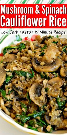 This savory Low Carb Mushroom & Spinach Cauliflower Rice recipe makes a quick and healthy keto-friendly, vegetarian side dish! Serve with chicken, fish or even steak! Food Recipes For Dinner, Food Recipes Keto Vegetarian Side Dishes, Healthy Side Dishes, Side Dish Recipes, Healthy Recipes, Vegetarian Recipes, Keto Recipes, Cooking Recipes, Ketogenic Recipes, Healthy Mushroom Recipes