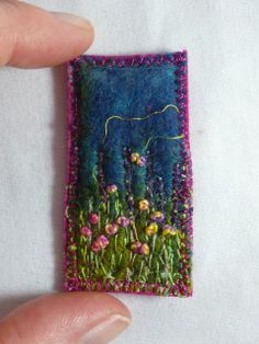 Wet felted and embroidered brooch. MarmaladeRose  .......size it for a wall hanging in minis