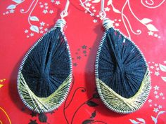 Black and Gold Peruvian Thread Earrings   Wyverndesigns - Jewelry on ArtFire