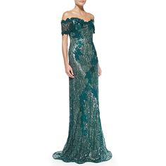 Rene Ruiz Off-the-Shoulder Lace Mermaid Gown ($590) ❤ liked on Polyvore featuring dresses, gowns, gown, green, hunter, green ball gown, lace dress, lace mermaid dress, lace evening dresses and off-the-shoulder lace dresses