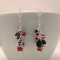 Wire Wrapped Earrings Red Turquoise Black by CraftedByJulieMarie