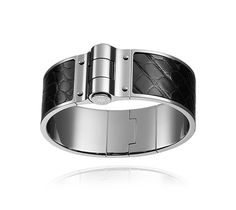 """Hermes wide bracelet in smooth mississipiensis alligator leather (size S) Palladium plated hardware, 1"""" wide, 7.4"""" circumference"""