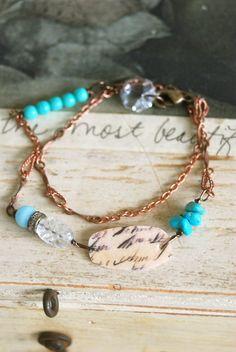 Wriitten script. turquoise beaded,vintage wrap chain bracelet. Tiedupmemories