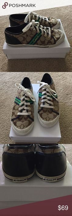 """Coach Folly Signature Jacquard Sneakers Authentic Coach Women's """"Folly"""" Signature jacquard lace up sneakers in khaki, Kelly green, and navy. Size 8.5M. Pre-loved but have a ton of life left in them! The laces are the originals and very sturdy. Coach Shoes Sneakers"""