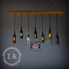 Repurposed Wine Bottle Seven Pendant Chandelier Wood Frame Hanging Lamp
