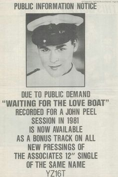 Billy Mackenzie Peel Sessions, John Peel, Public Information, Love Boat, Drawer, My Love, News, Drawers, Chest Of Drawers