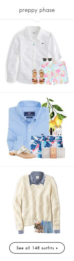 """preppy phase"" by mysquadtoowavy ❤ liked on Polyvore featuring Vineyard Vines, Ray-Ban, Lilly Pulitzer, Kendra Scott, Elizabeth and James, Pottery Barn, Jack Rogers, Bobbi Brown Cosmetics, J.Crew and American Eagle Outfitters"