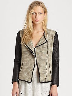 d9bf80e3cd87 IRO Deven Leather-Sleeve Jacket Trendy Clothing Stores
