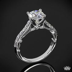 This Diamond Engagement Ring is from the Verragio Paradiso Collection. It features 0.40ctw of Round Brilliant Diamond Melee (F/G VS) that enhance a round diamond center of your choice. The width of this ring is 2mm. Select your diamond from our extensive online diamond inventory. Please allow 4 weeks for completion. Platinum rings carry a 5 week turnaround time.     #Whiteflash #Verragio
