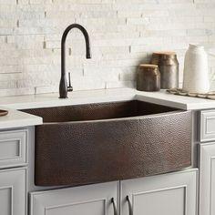 Copper Kitchen Accents, Copper Kitchen Accessories, Copper Farmhouse Sinks, Farmhouse Sink Kitchen, Kitchen Sinks, Kitchen Reno, Bar Sinks, Kitchen Backsplash, Apron Front Kitchen Sink