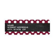 Vintage Chalkboard look on Claret Polka Dots Custom Return Address Label