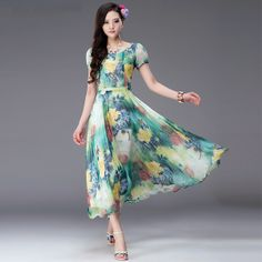 New Arrival Puff Sleeve Mid Waist Medium Length Chiffon Dresses