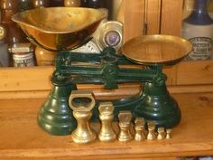 VINTAGE LIBRASCO KITCHEN SCALES AND BRASS BELL WEIGHTS