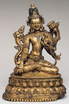 Bodhisattva Manjushri in the form of Sita Manjughosa	  Tibet; 13th - 14th century  This Tibetan image of one form of Manjushri, Sita Manjughosa has no sword, most likely because it was created according to specific texts taught by a Kashmiri monk named Shakya Shri (1127-1225), who was active in Tibet in the early 13th century. This form of Manjushri, as taught by Shakya Shri, stresses the role of meditation in attaining transcendental wisdom.