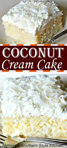This mouthwatering Coconut Cream Cake is a heavenly amalgamation of cake, coconut cream and whipped cream topped with fresh coconut. Kokos Desserts, Desserts Ostern, Coconut Desserts, Coconut Recipes, Köstliche Desserts, Delicious Desserts, Dessert Recipes, Coconut Cream Dessert, Coconut Cake Easy